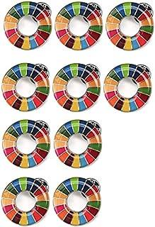 【国連本部公式最新仕様】SDGs バッジ25mm sdgs バッチ ピンバッチ 襟章 帽子やバッグにも最適 かわいい ギフト (10個) 銀色 シルバー表面丸み仕上げ留め具30個付き