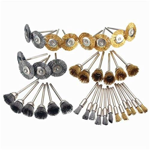 Senmubery 36Pcs Steel Wire Brush Polishing Wheels Set Kit for Rotary Tool Drill Bit 3Model