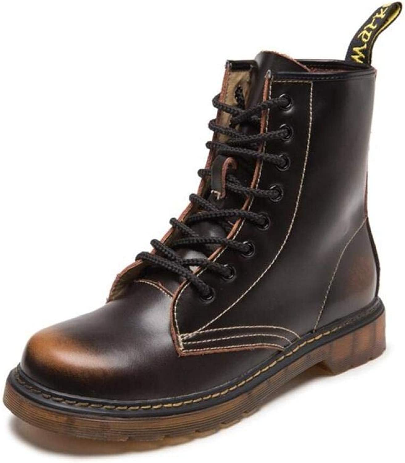 XINGF Men's High-top Martin Boots, Black British Retro Leather Boots, Fashion Trend Couple Boots, Autumn and Winter Non-Slip Warm shoes