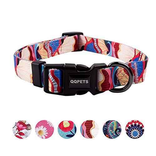 QQPETS Dog Collar Personalized Soft Comfortable Adjustable Collars for Small Medium Large Dogs Outdoor Training Walking Running (S, Petal)