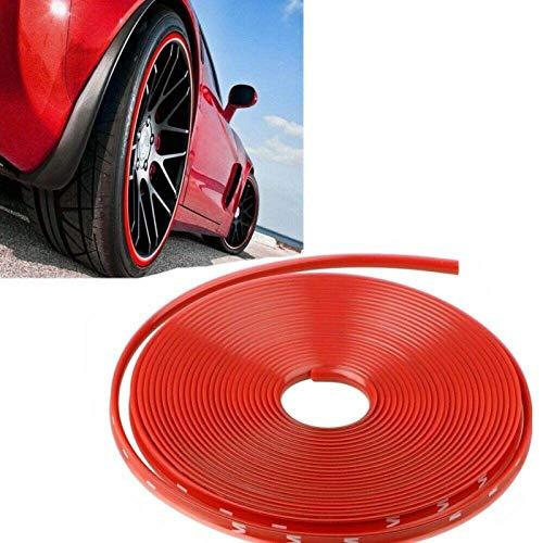 Moolo Anillo Protector De Borde De Llanta Raya del Cubo De La Rueda Línea De Decoración del Automóvil Tira De Goma Prevención De Rayones(Color:Rojo)