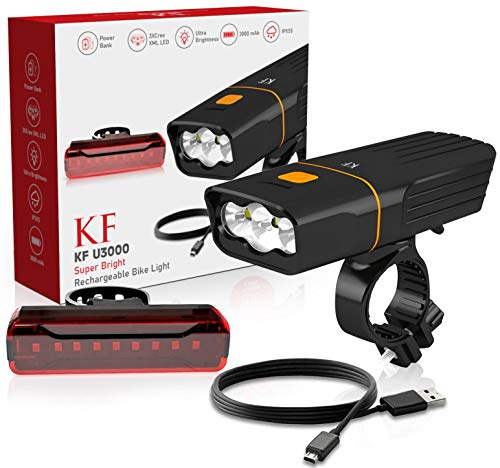 KF Bike Light-USB Rechargeable Bicycle Lights Set- Multi-Adjustable Lighting Modes-Waterproof IP55 Super Bright Bicycle Lights Fits All Bikes-Perfect for Mountain and Road