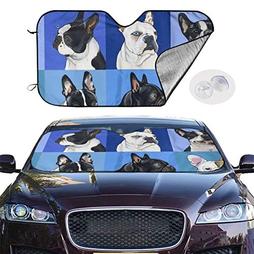 AINGLOTAS Bulldogs, All Kinds of Dog Expressions Auto Windwhield Sun Shades Universal Fit 51.2 X 27.6 Inch Window Keep Your Vehicle Cool Visor for Car Truck SUV Sunshade Cover,Windwhield Sun Shades