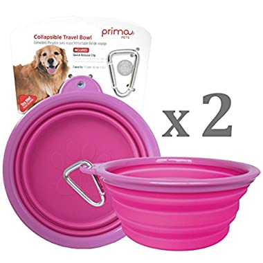SALE: Prima Pet Collapsible Silicone Water Travel Bowl with Clip for Dog and Cat, Portable and Durable Pop-up Feeder for Convenient On-the-go Feeding – Size: LARGE (5 Cups) PINK – 2 PACK