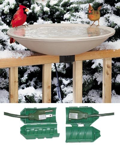 BestNest API 650 Deck Mounted Heated Bird Bath with Outdoor Cord Connector