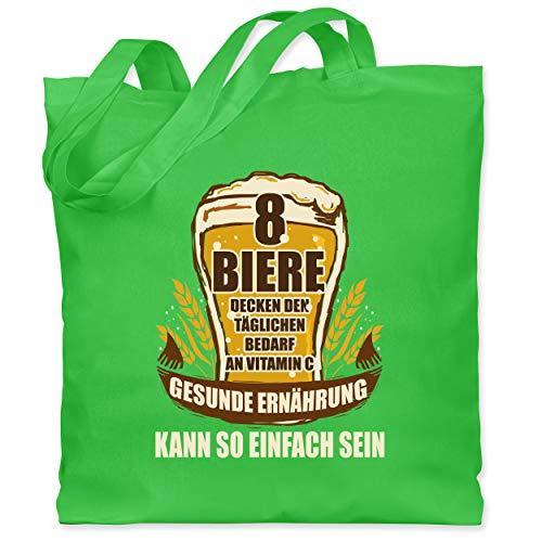 Shirtracer Sprüche - 8 Biere decken den Tagesbedarf an Vitamin C - Unisize - Hellgrün - Geschenk - WM101 - Stoffbeutel aus Baumwolle Jutebeutel lange Henkel