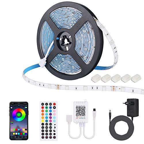 Striscia LED 5M Bluetooth, ALED LIGHT Impermeabile LED Strip 5 Metri RGB 150 LEDs 5050 SMD Nastri Led Con DC 12V Alimentatore+ 44 Tasti Telecomando+ Ricevitore+ Istruzioni