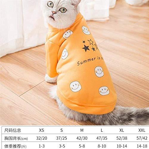 WANGSHI Glückliche Katzen-Winter-warme Kleidungs-Haustier-Winter-Nette Kleidung Teddybär-Katzen-Haustier-Kleidung XL K53-Beige Smiley