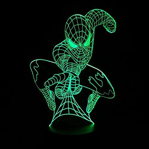 WANGJIA Marvel Superhero Spiderman 3D Lampada Da Tavolo Illusione Ottica Night Light 7 Colori Che Cambiano Lampada Mood Lamp Spider Man Lava