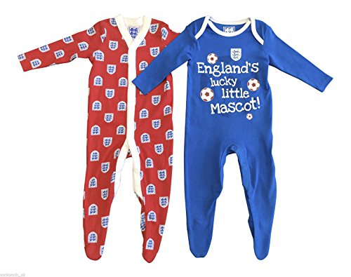 Lot de 2 – Bébé Garçon Angleterre Football Coton Grenouillère Pyjama combinaison en rouge et bleu et de tailles à partir de 0–24 mois