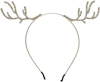 AMAZACER Christmas Headdress Headdress Fashion Headdress Deer Festival Party Headdress Holiday Party Cute Antler Headdress (Color : Gold, Size : 3) (Color : Gold, Size : 3)