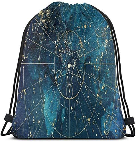 Bolsa de cordón con diseño de nebulosa galaxia estrellada resistente al agua mochila portátil duradera bolsa de gimnasio suave poliéster para niños trabajadores campistas deportistas