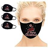 RONGTIAN 3 Stück Mundschutz Weihnachtsmaske 3D Weihnachten Waschbar Maske Baumwolle Stoff Mund-Nasen-Schutz mit Filter Atmungsaktiv Stoffmaske Alltagsmaske Weihnachtsmotiv Multifunktionstuch Halstuch