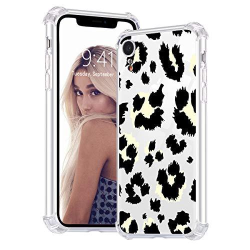 Idocolors Cover per iPhone 6 Plus / 6S Plus Leopardo Beige Trasparente Silicone TPU Morbido Custodia con Cuscino d'Aria agli Angoli Antiurto Bumper Protettiva Case