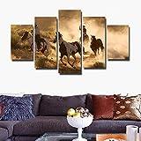 Impression sur Toile 5 Parties Image sur Toile Tableau Mural Image sur Toile Photo Images Motif Équitation dans Les Prairies - 200x100cm sans Cadre