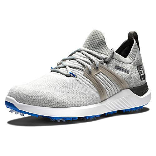 FootJoy Men's Hyperflex Golf Shoe, Grey/White/Blue, 10