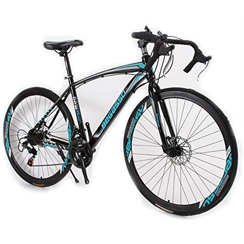 WSJ Bicicleta de montaña de velocidad variable para adultos, hombres y mujeres, estudiantes doblados, 21 bicicletas de montaña aceleradas, color azul