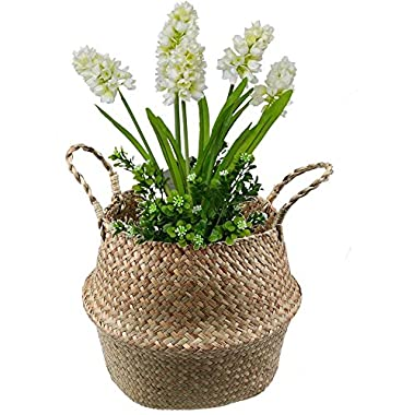WCIC Belly Basket Seagrass Storage Bin, Natural Woven Planter Hanging Basket with Handle Flower Pot Vase 8.26 x9.44
