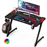 VANSPACE 47 Inch Ergonomic Gaming Desk with RGB LED Light and Free Mouse Pad, Z-Shaped Office Desk PC Computer Desk Racing Gaming Table Gamer Workstation with Cup Holder&Headphone Hook, Cable Manage