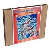 Arenart | 1 Lámina Delfines 38x46cm | para Pintar con Arenas de Colores | Manualidades para Adultos y Jóvenes | Dibujo Fácil