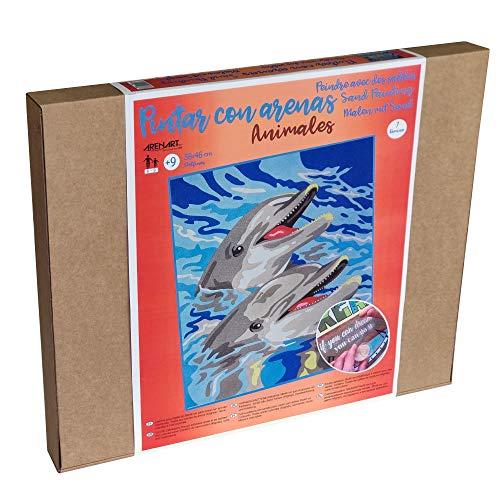 Arenart - Set Pintar con Arenas de Colores - Delfines 38x46 cm