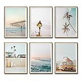iMagitek Set von 6 ungerahmten Kunstdrucken mit Kalifornien