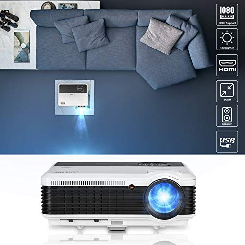 EUG 4600 Lumens Digital Hd Multimedia Portable LCD Video Projector Home Cinema System 1080p Outdoor Projection with Hdmi VGA Usb Av Tv for Game Gaming Movie Effect 5.8