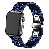 DEALELE Correa compatible con iWatch de 38 mm, 42 mm, 40 mm, 44 mm, acero inoxidable, 7 cuentas de metal, pulsera de repuesto para Apple Watch Series 6/5/4/3, mujeres y hombres (azul, 42 mm/44 mm)