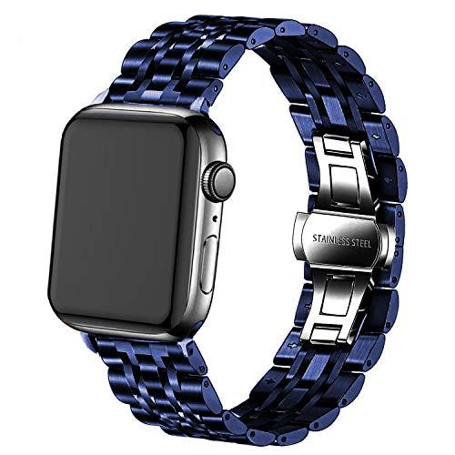 DEALELE Correa compatible con iWatch de 38 mm, 42 mm, 40 mm, 44 mm, acero inoxidable, 7 cuentas de metal de repuesto para Apple Watch Series 6/5/4/3, mujeres y hombres (azul, 42 mm/44 mm)