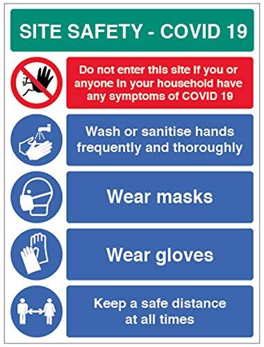 Site Safety COVID19 – lavarsi le mani, indossare maschere, indossare guanti, mantenere una distanza di sicurezza semi rigida in PVC (450 x 600 mm)