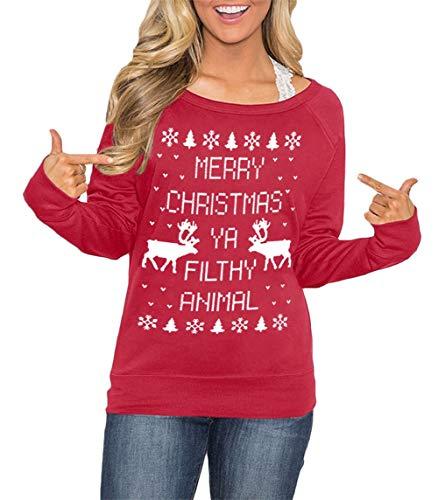 Christmas Women's Raglan Holiday Reindeer Maroon Shirt Long Sleeve Cotton Graphic Sweatshirts L