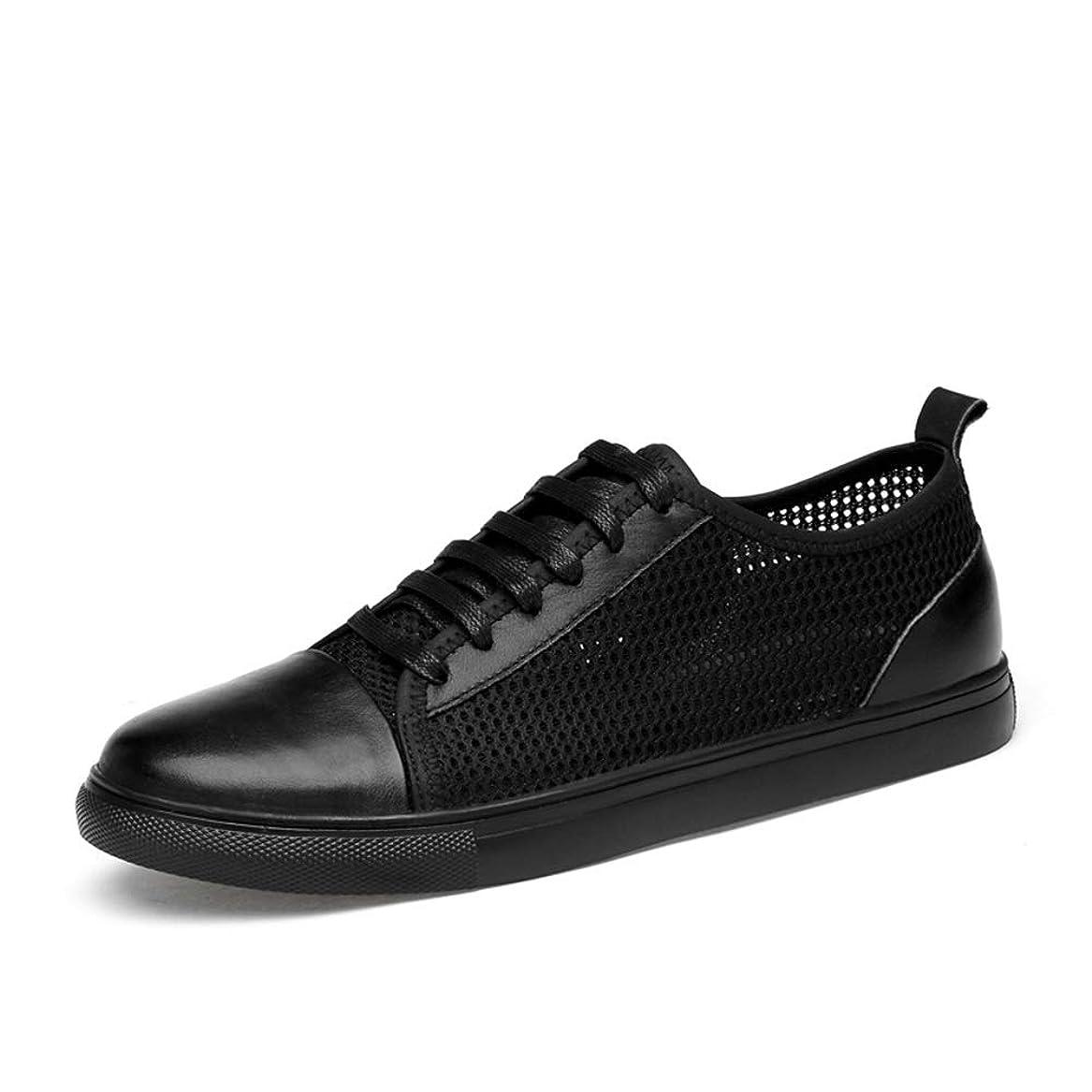 登録する賢明なしばしば[CHENJUAN] 靴メンズ通気性メッシュスニーカーファッションフラットスポーツシューズレースアップレザーアッパーラウンドトゥウェア耐摩耗