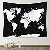 Stacy Fay World Map Tapestry, 59'x 79' Black and White Globe Map Wall Hanging for Bedroom Living Room Wall Decor