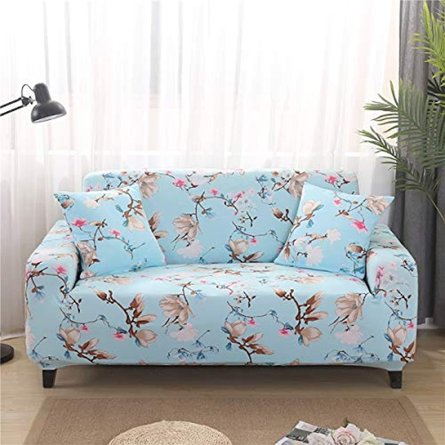 PlenTree 1pcs Elastic Printed Sofa Tight Bag All-Inclusive Sofa Set Elastic Sofa Towels Single Two-Person Three-Seat Four-Seat  qiuyejingmei, 2 Seater