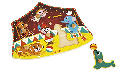 Janod 6 Piece Stars of The Circus Themed Wooden Peg Colorful Jigsaw Puzzle - Encourages Shape Recognition, Dexterity, and Language Development - Preschool Kids and Toddlers 18 Months+