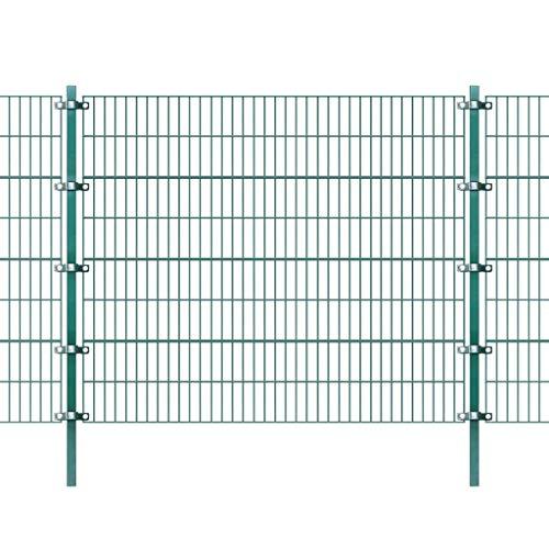 Zora Walter Panneau de clôture avec poteaux verts en fer, 6 x 1,6 m, clôture de jardin, clôture, parterres de fleurs, accessoires, clôtures, kit clôture extérieure