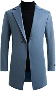 qianqianq Mens Turn-Down Collar Fall Winter Slim Fitted Pure Colour Outwears