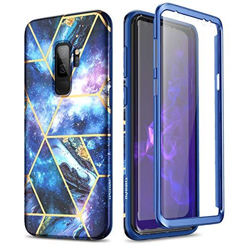 SURITCH Kompatibel mit Samsung S9 Plus Hülle Silikon Hüllen mit Integriertem Bildschirmschutz 360 Grad Bumper Stossfest Handyhülle Schutzhülle für Samsung Galaxy S9 Plus(Sterne blau)