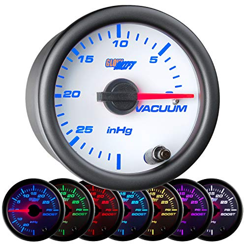 """GlowShift White 7 Color Vacuum Gauge Kit - Includes Mechanical Hose & T-Fitting - White Dial - Clear Lens - 2-1/16"""" 52mm"""