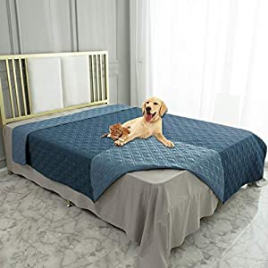 Ameritex Waterproof Dog Bed Cover Pet Blanket for Furniture Bed Couch Sofa Reversible (82×82 Inches, Navyblue+Stoneblue)