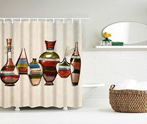 LAundNA Retro Flaschen Dekor Wasserdicht & Schimmel Bad Duschvorhang, mit 12 Haken , 150*180
