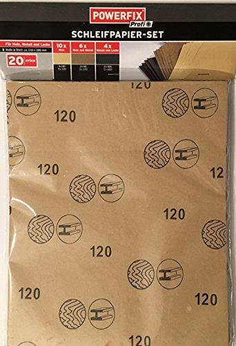 Papel de lija Set powerfix Profi 20 pcs dimensiones de cada hoja ca 230 x 280 mm 10 x madera (5 x 80 + 5 x 120 6 x madera y metal (3 x 80 + 3 x 120 4 x metales y pinturas (2 x 400 + 2 x 600)
