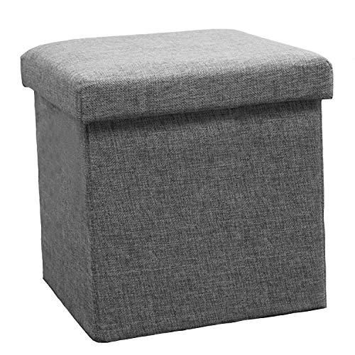 (ADOSSY) 収納ボックス 椅子 スツール オシャレ シンプル 組み立て ソファ 踏み台 大容量 耐久 (グレー, S)
