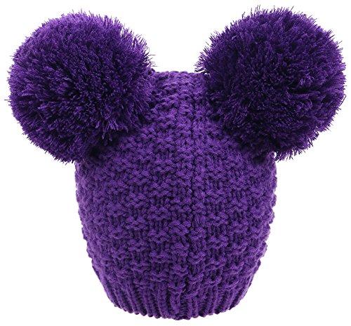 Women's Winter Chunky Knit Double Pompom Ears Beanie Hat, Purple