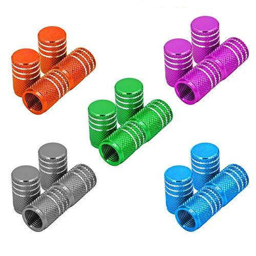 Senven 5 juegos Tapones de válvula de aleación de aluminio. Válvula de neumático para evitar fugas de aire para coche, moto, camión, bicicleta, válvula neumático - 20Pcs.