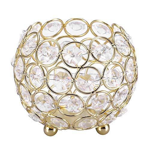 Hongzer Kerzenhalter, runde Kristallschale Kerzenhalter Bulk, Kandelaber Ornamente für Hochzeitsdekoration und Wohnkultur, Tischdekoration(10MM-Gold)