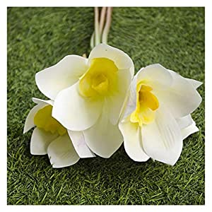 YSQSPWS Artificial Flowers 4 Heads Orchid Magnolia Artificial Silk Flowers Colorful (Color : White)