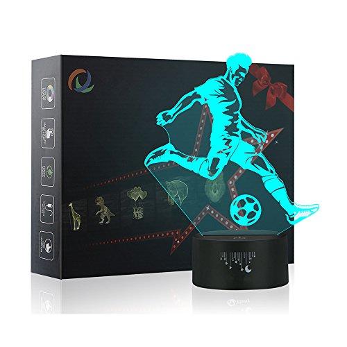 3D Fußball Nachtlicht,7 Farben Berührungssteuerung Zuhause Dekor Tischleuchte,Optische Illusion LED Nachtlampe USB Tischlampe, für Kinder Weihnachten Geburtstag beste Geschenk Spielzeug