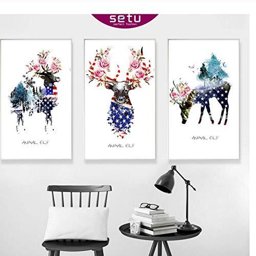 Terilizi geometrische abstracte vlag van de Verenigde Staten hertenbloemen muurkunstdruk aquarel canvas schilderij poster voor woonkamer 50 x 70 cm x 3 geen lijst