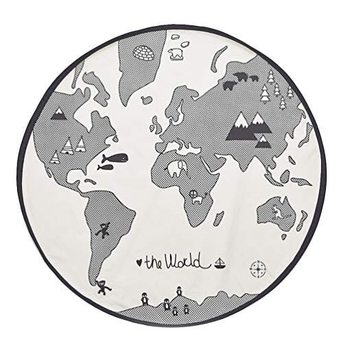Tomaibaby Weltkarte Teppiche Rund Kinder Krabbeln Matten Baumwolle Kinder Bereich Teppich rutschfest Baby Boden Spielmatte Kinder Spaß Pädagogischen Lernteppich